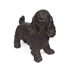 Christopher Knight Home 309256 Messiah Outdoor Cocker Spaniel Dog Garden Statue, Brown Finish