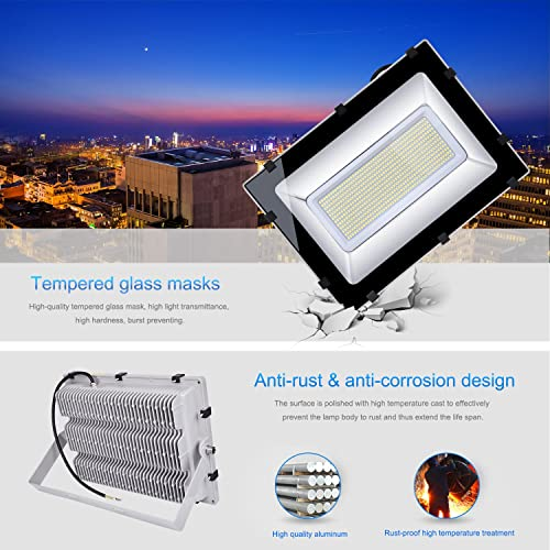 Ankishi 300W Led Lights Flood Lights,30000LM Super Bright Outdoor Work Light,6500K Cold White,IP65 Waterproof Security Lights for Garden,Playground,Basketball Court,Lawn and Yard