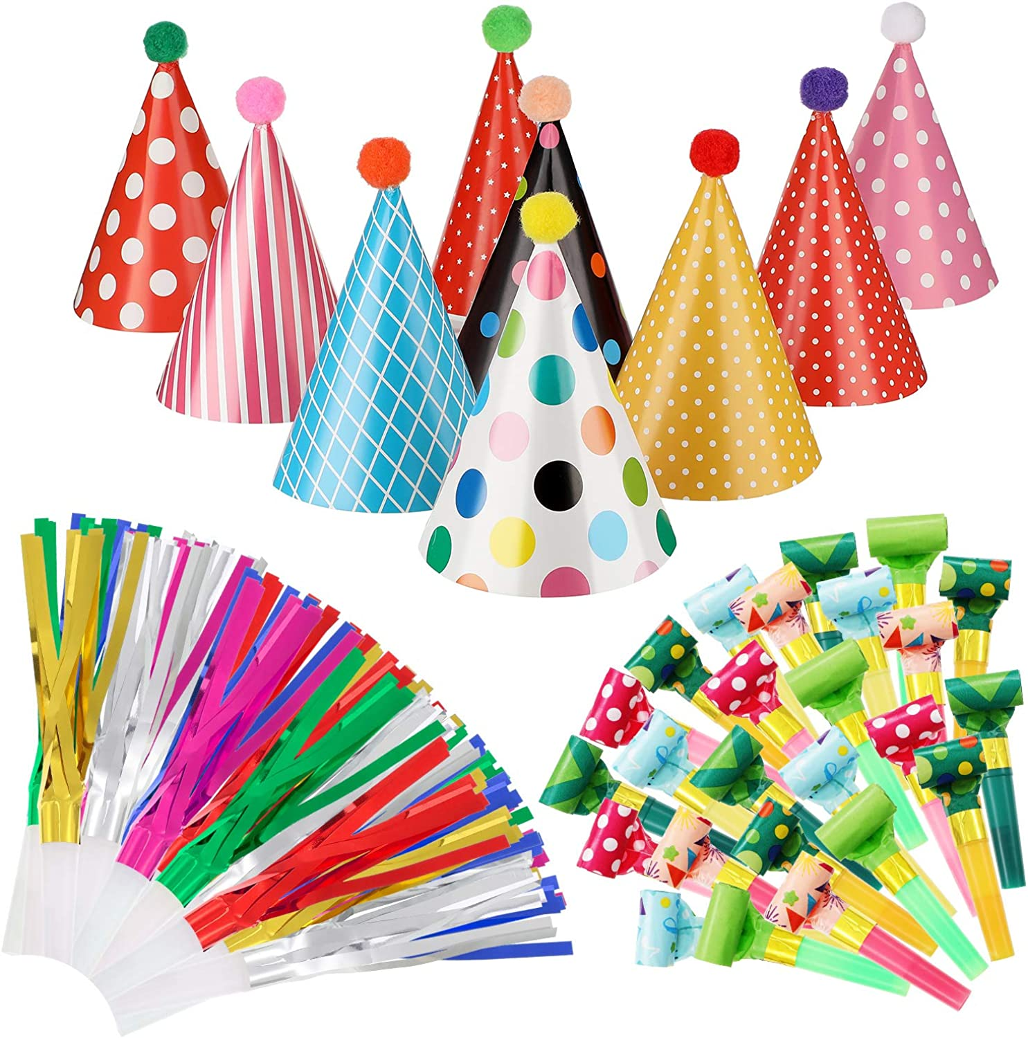 9 Pieces Birthday Party Hats Adorable Party Cone Hats with 24 Colorful Paper Blowouts and 24 Glittering Metallic Tassel Blowouts for Birthday Party: Clothing