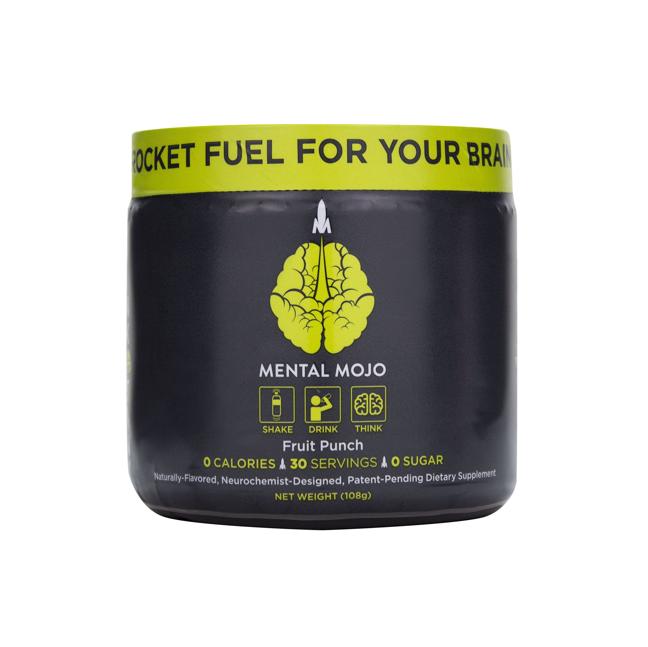 (30-Servings) Mental Mojo Nootropic Stack: Rocket Fuel For Your Brain - Nootropic Energy Drink Mix Brain Supplement - Patent-Pending Brain Booster Drink Boosts Focus, Memory and Energy (Focus Fruit Pu