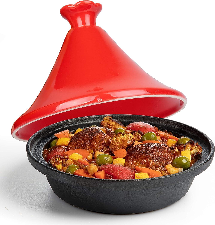 Tagine Moroccan Cast Iron 4 qt Cooker Pot- Caribbean One-Pot Tajine Cooking with Enameled Ceramic Lid- 500 F Oven Safe Dish