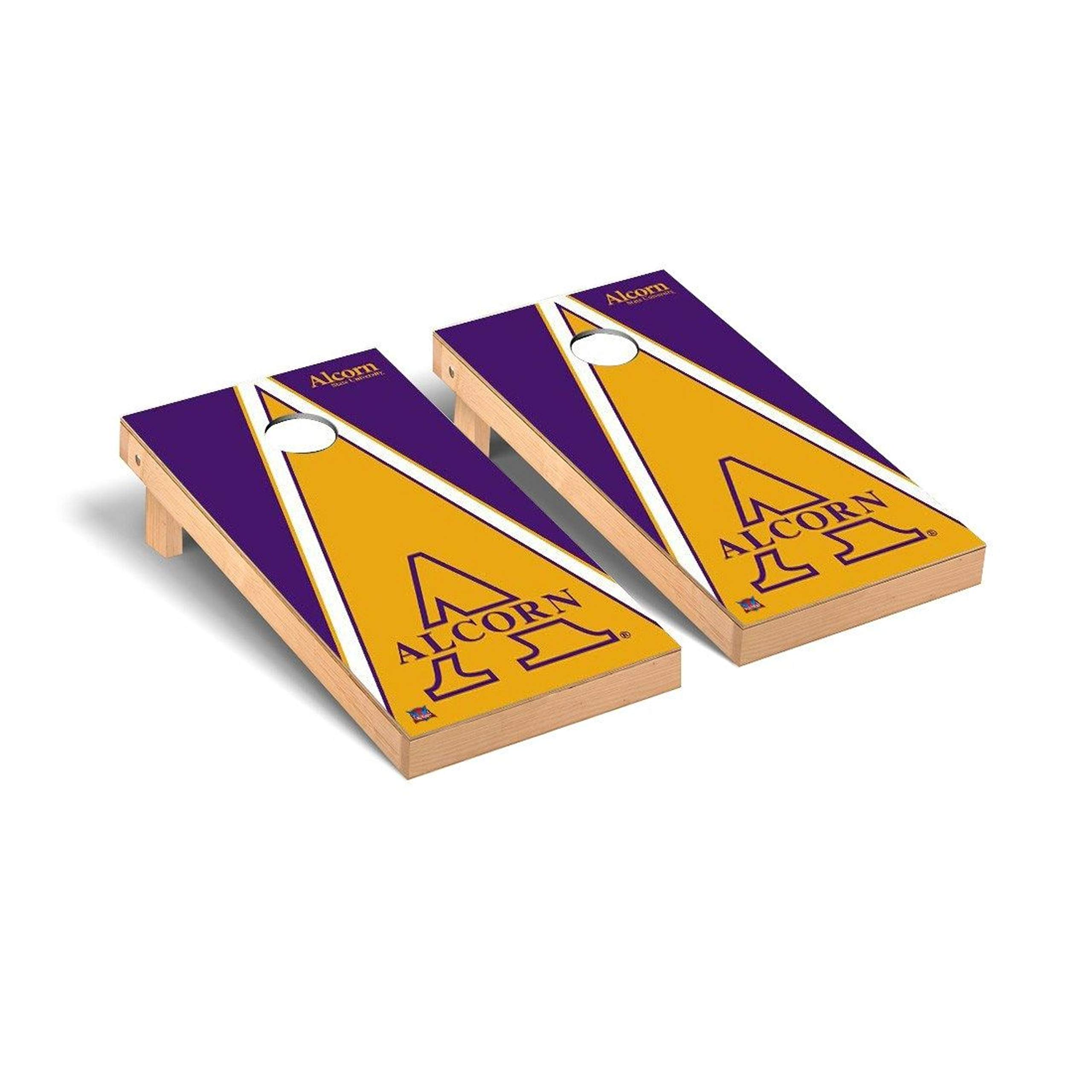 Victory Tailgate Regulation Collegiate NCAA Triangle Series Cornhole Board Set - 2 Boards, 8 Bags - Alcorn State Braves