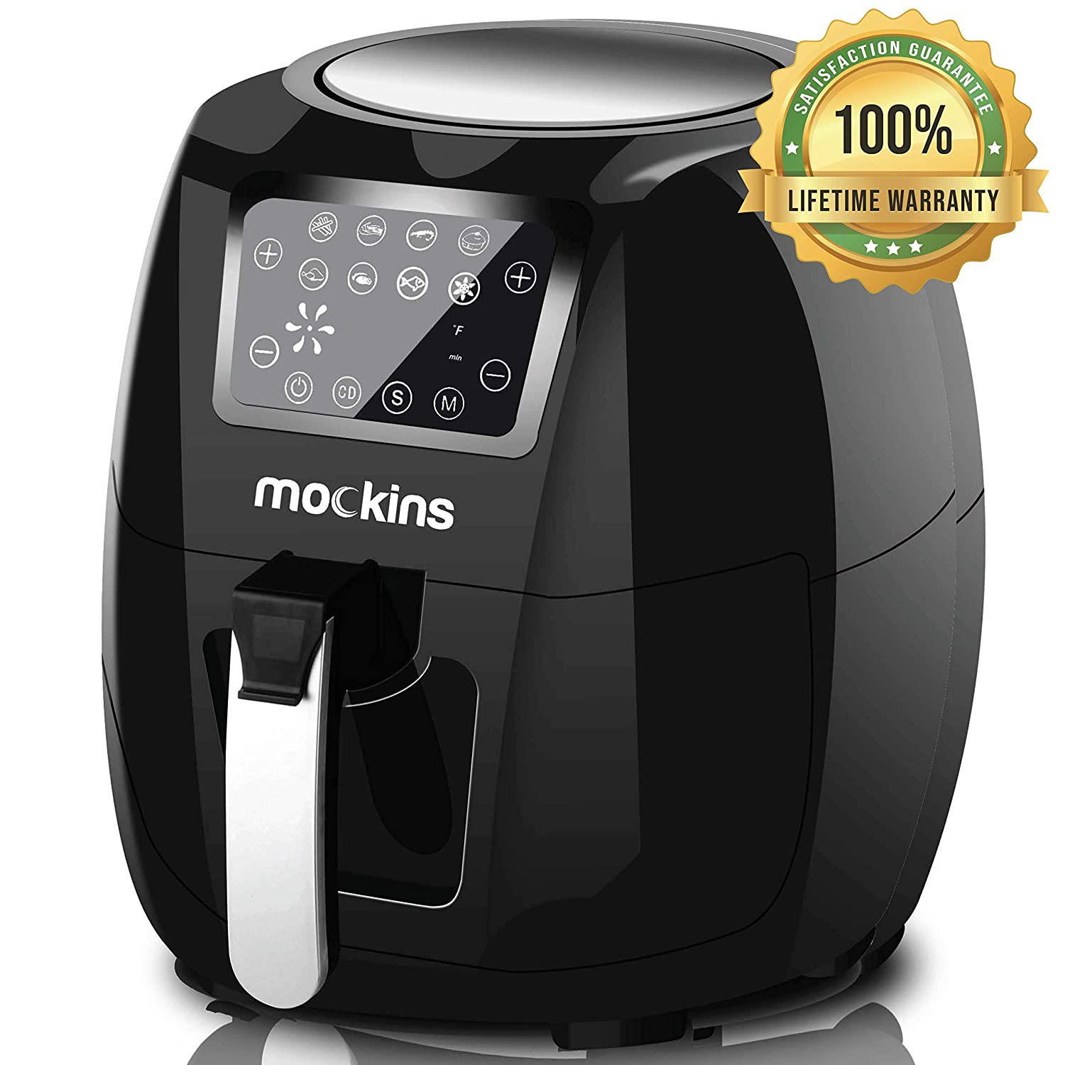 mockins Extra Large Air Fryer 5.8 Qt with Advanced LCD Touch Screen, 7 Built-In Presets and Rapid Air Circulation Technology and Includes Free Air Fryer Cookbook Must Have Kitchen Gadgets
