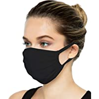 SAMBUYA Cloth Reusable Washable Face Mask with Filter Pocket | Anti-Microbial Comfortable Breathable 3-Layer 100% USA Cotton Fabric | Adult Unisex Women Men (Black, Adult)