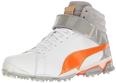 outlet store 9bf3c bc463 PUMA Men s Titantour Ignite HI-TOP SE Golf Shoe, White-Vibrant Orange-