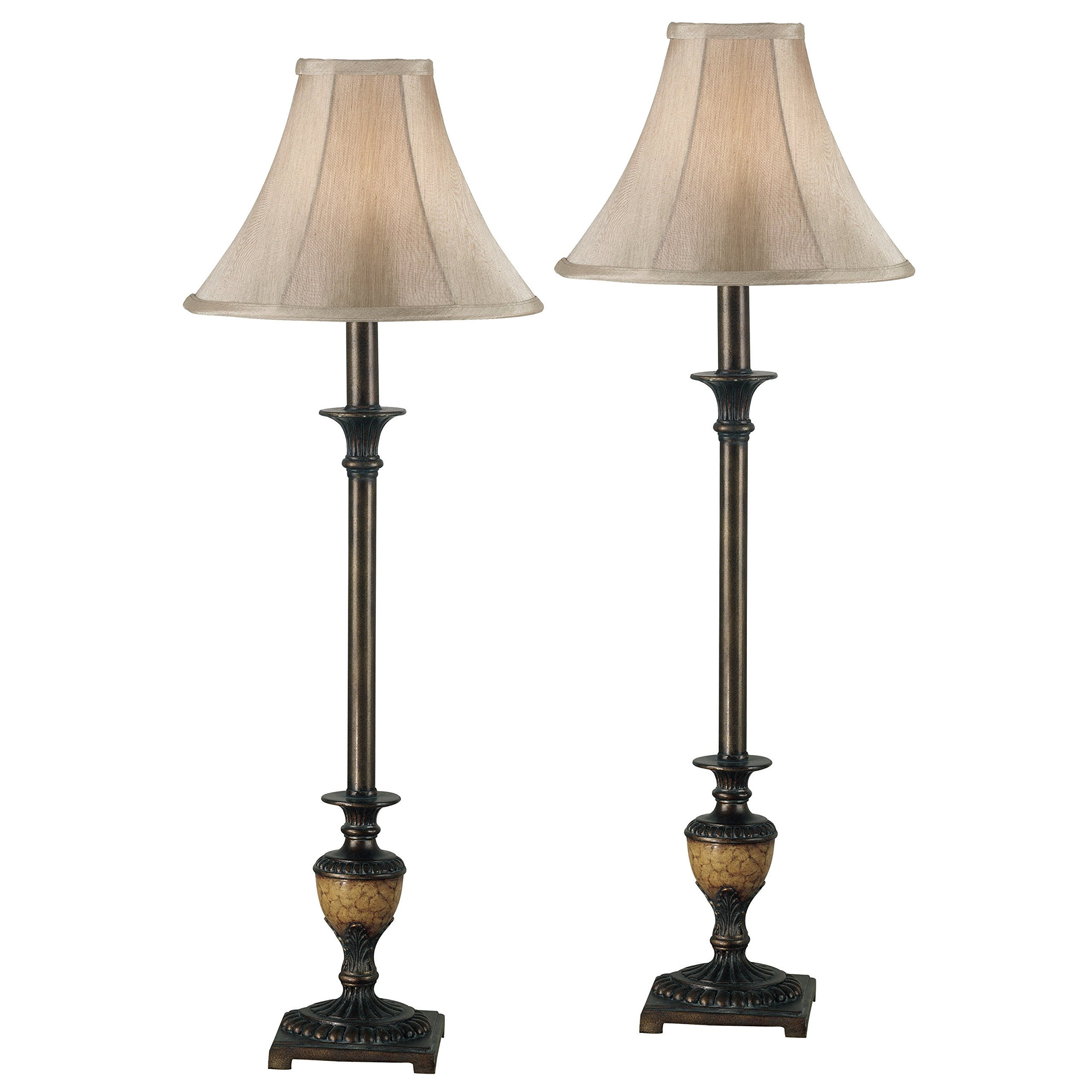 30'' Light Gold Bell Shade Vintage Bronze Painted Buffet Lamps (Set of 2)