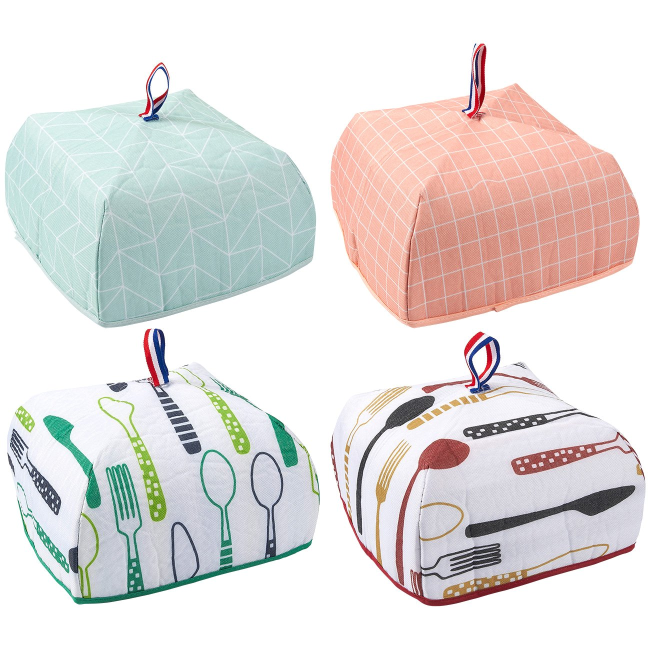 4-Pack Food Cover - Portable Thermal Pop-Up Food Cover, Small Collapsible Food Tent, 4 Designs, 9.5 x 5.5 x 9.5 Inches Juvale