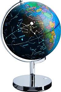 USA Toyz LED Illuminated Globe of The World with Sturdy Chrome Stand - 13.5 Inch Tall Educational Interactive Globe STEM Toy, Light Up Globe Lamp, Constellation Globe Night Light LED Decor