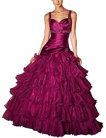Romantic-Fashion Damen Ballkleid Abendkleid Brautkleid Lang Größe 34 ...