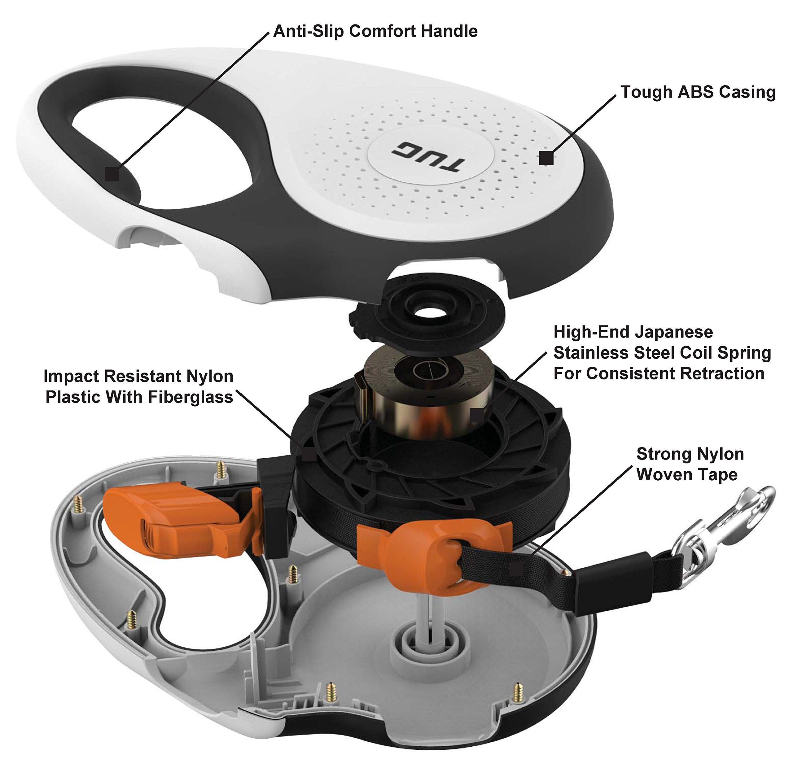 TUG Patented 360° Tangle-Free, Small Retractable Dog Leash with Anti-Slip Handle; 16 ft Strong Nylon Tape/Ribbon; One-Handed Brake, Pause, Lock (White/Orange) by TUG (Image #3)