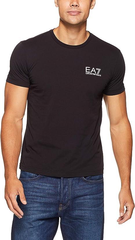 EA7 Hombre Camiseta con Logo en el Pecho, Azul