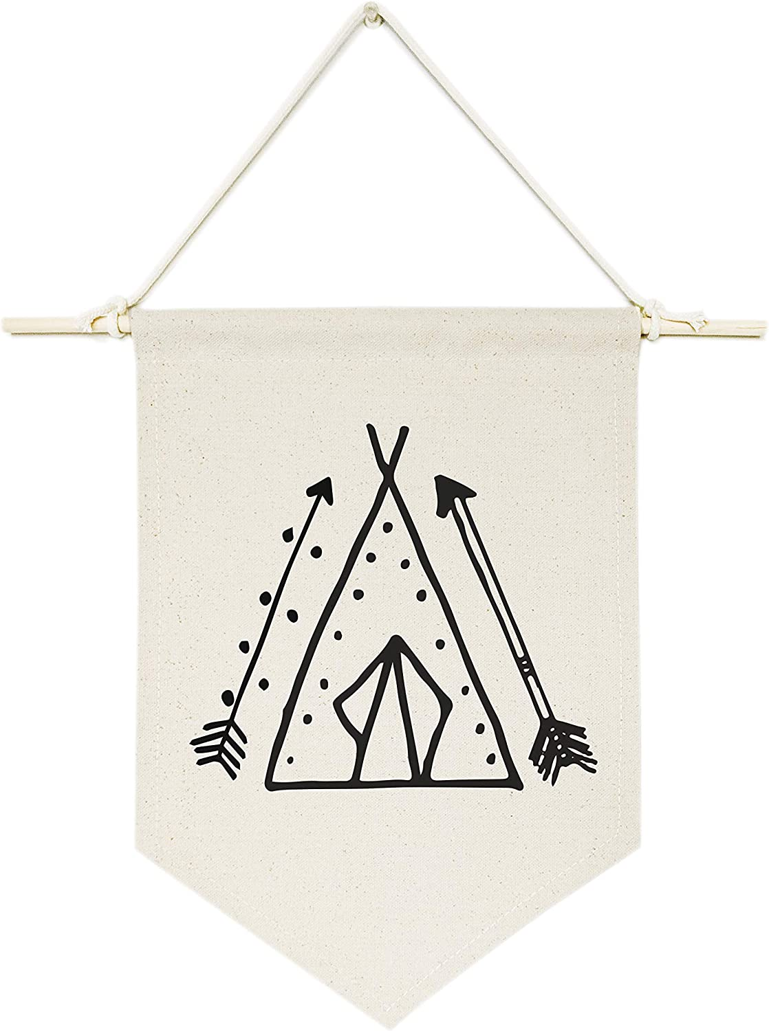 The Cotton & Canvas Co. Tee Pee Tribal Hanging Wall Canvas Banner for Baby Girl, Baby Boy, Nursery, Teen and Kids Room