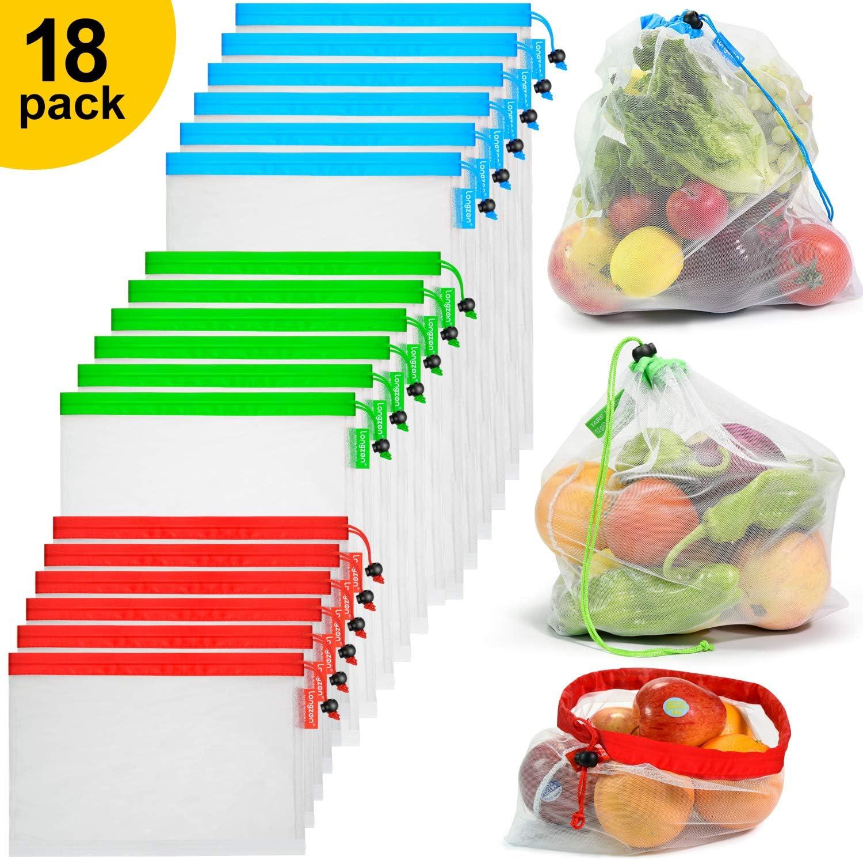 longzon. 18 Piezas Bolsas Reutilizables Compra, Bolsas Reutilizables Fruta, Lavable, Ligero, Transparente, para Almacenamiento, Compra, Fruta, Verdura y Juguete. - (6L + 6M + 6S)