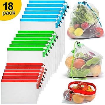 longzon. 18 Piezas Bolsas Reutilizables Compra, Bolsas Reutilizables Fruta, Lavable, Ligero, Transparente, para Almacenamiento, Compra, Fruta, Verdura ...