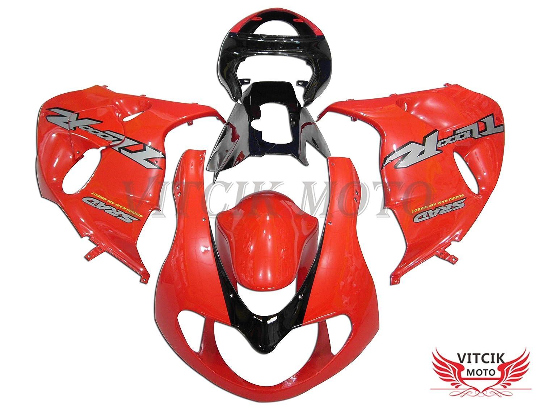 VITCIK (フェアリングキット 対応車種 スズキ Suzuki TL1000R 1998 1999 2000 2001 2002 TL 1000 R 98 99 00 01 02) プラスチックABS射出成型 完全なオートバイ車体 アフターマーケット車体フレーム 外装パーツセット(レッド & ブラック) A001   B072P1GWW7
