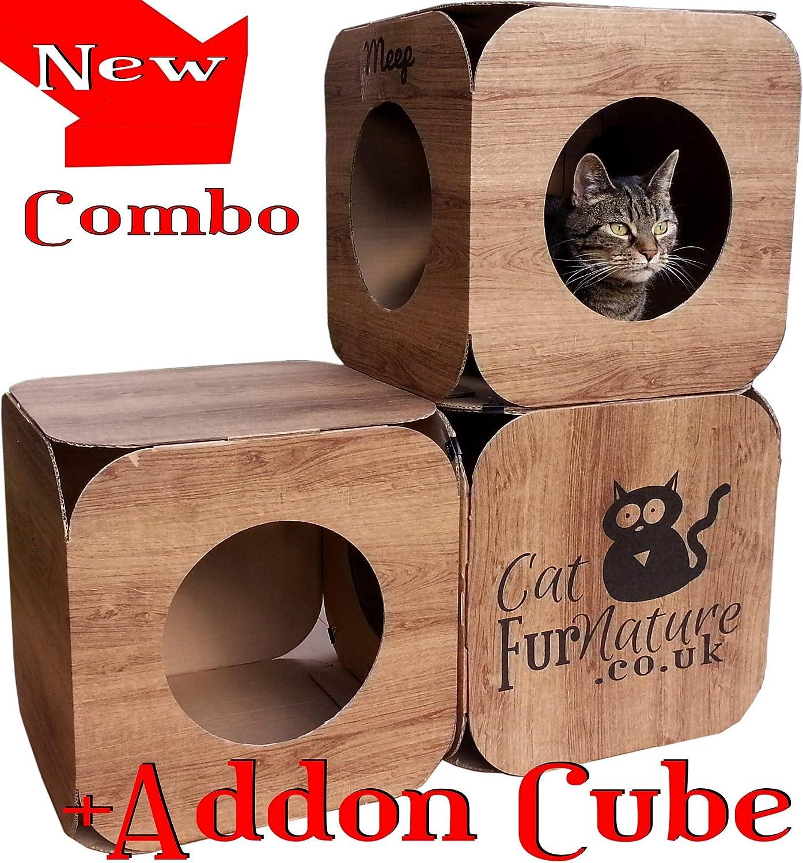 Cubo de Gato de cartón (3 Agujeros) Efecto Madera: Amazon.es: Productos para mascotas