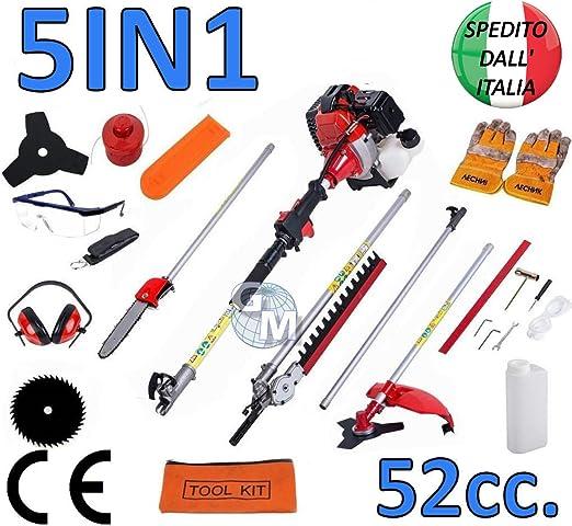 Multiherramienta 5 en 1 - Cortacésped, podadora, cortasetos desbrozadora y motosierra de 52 cc: Amazon.es: Jardín