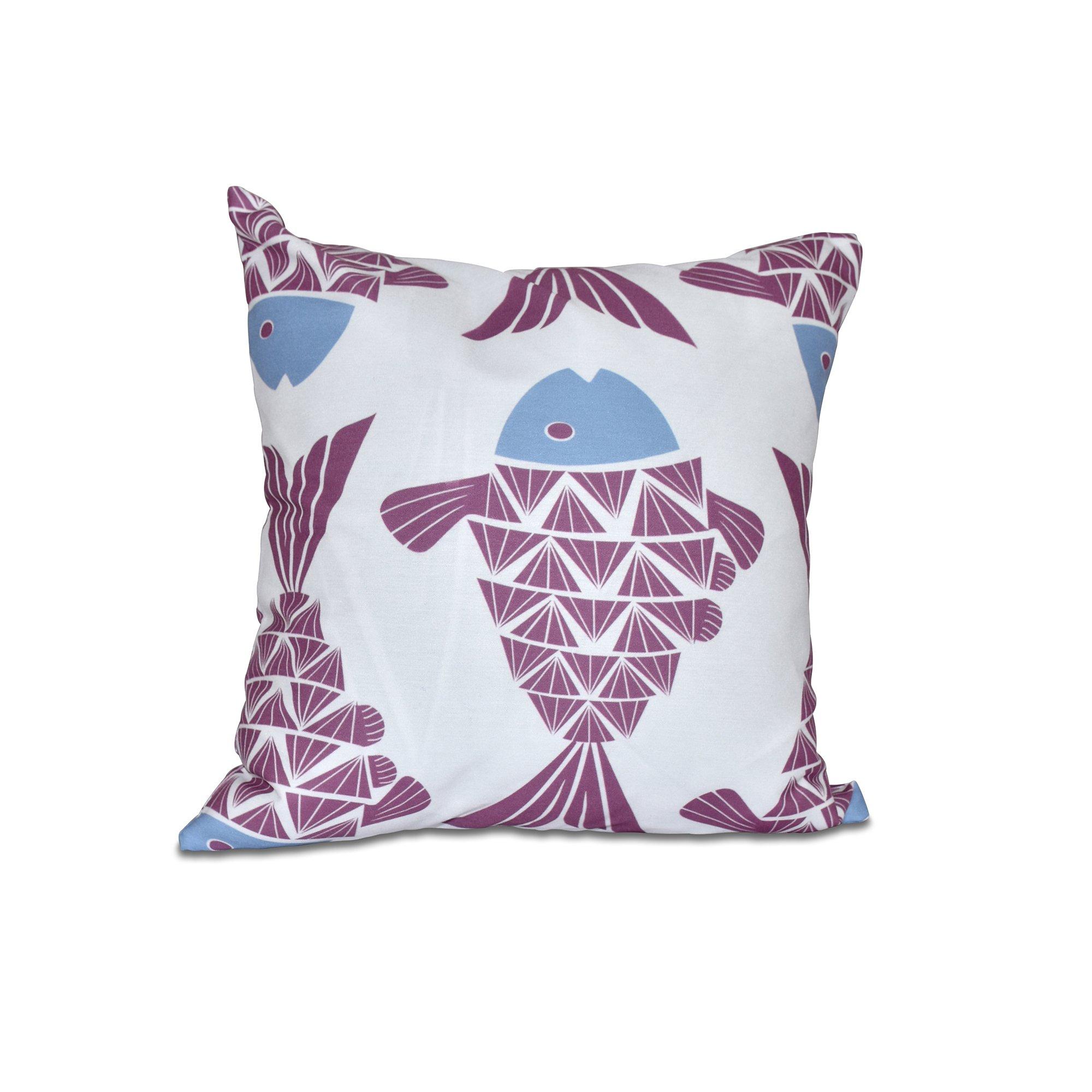 E by design O5PAN427PU5BL16-16 16 x 16 Big Fish Animal Print Purple Outdoor Pillow