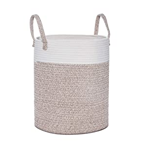 Woven Cotton Rope Basket, Tall Laundry Blanket Storage Basket with Built-in Sturdy Handles, Baby Nursery Bin for Home Decor and Organizing