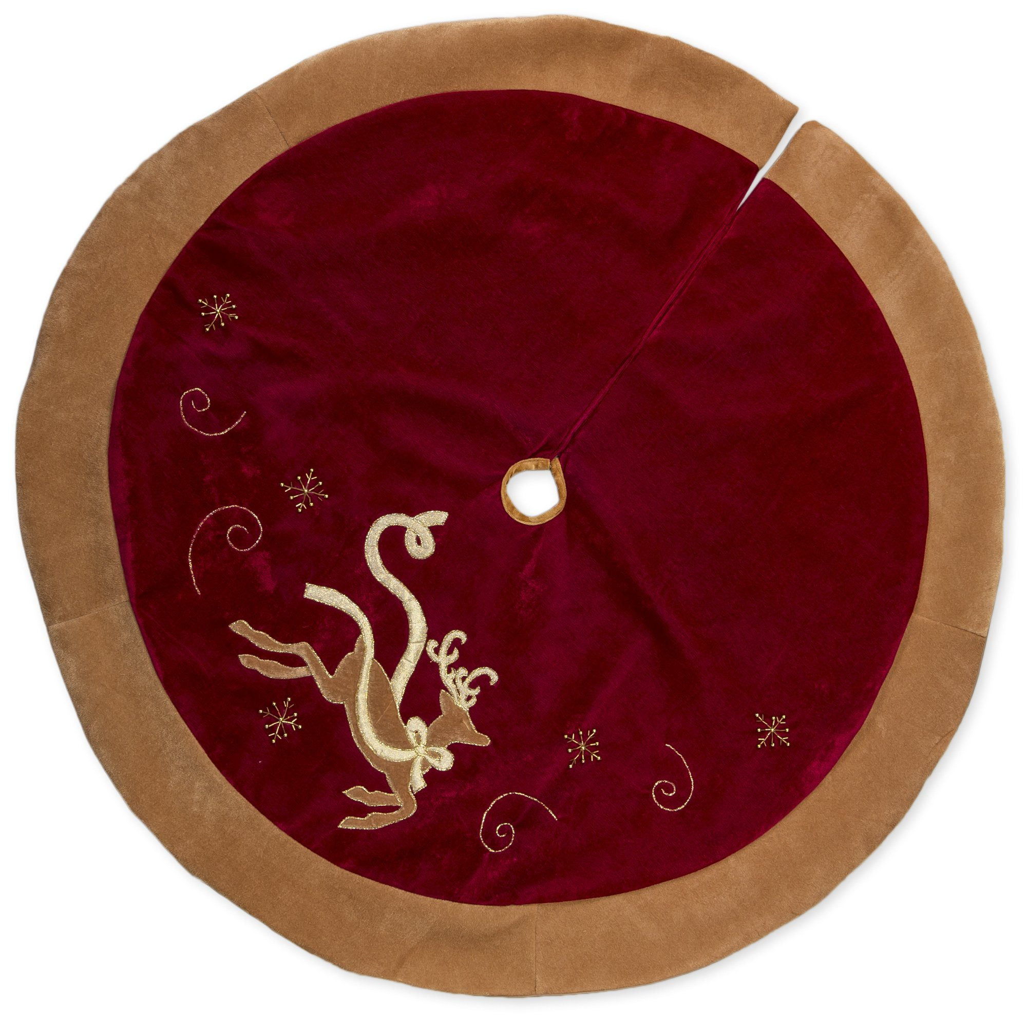 48 inch Red Velvet and Reindeer Applique with Gold Tone Trip Christmas Tree Skirt