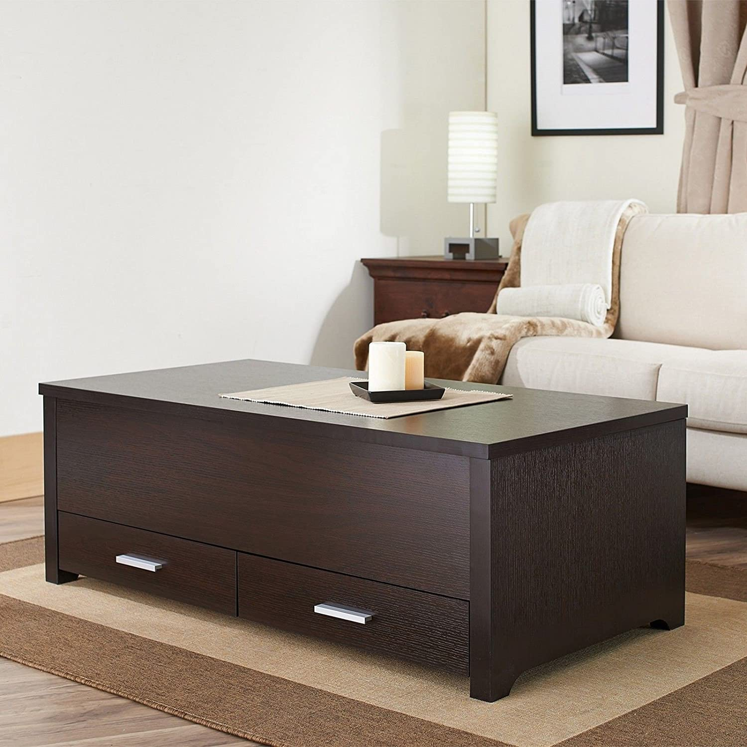 Amazon Espresso Finish Wood Trunk Coffee End Table with