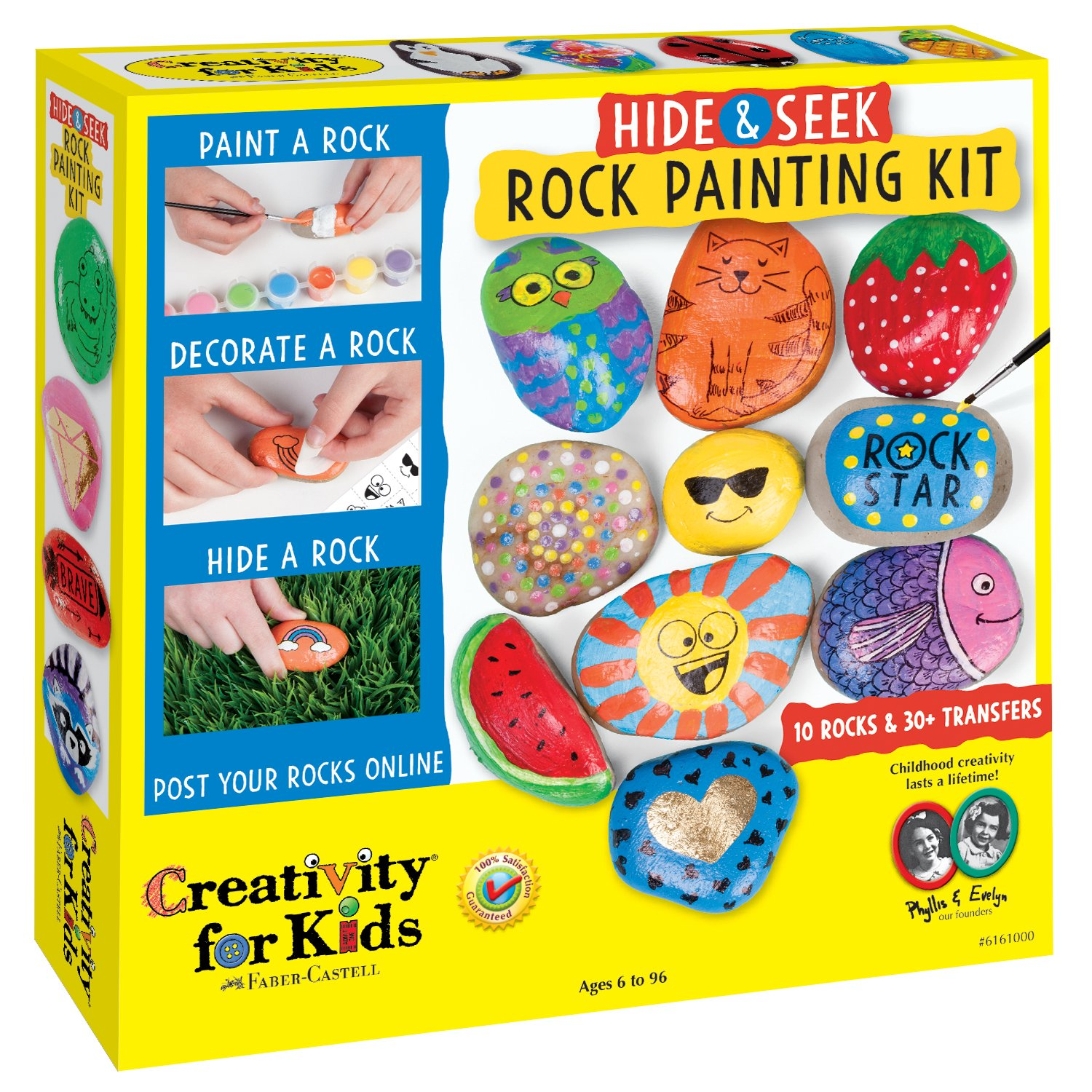 Creativity for Kids Hide and Seek Rock Painting Kit - Customize 10 Rocks