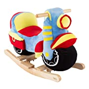 Happy Trails Rocking Motorcycle Toy - Kids Plush Stuffed Ride On Wooden Rocker and Handles - Fun for Boys, Girls, Toddlers