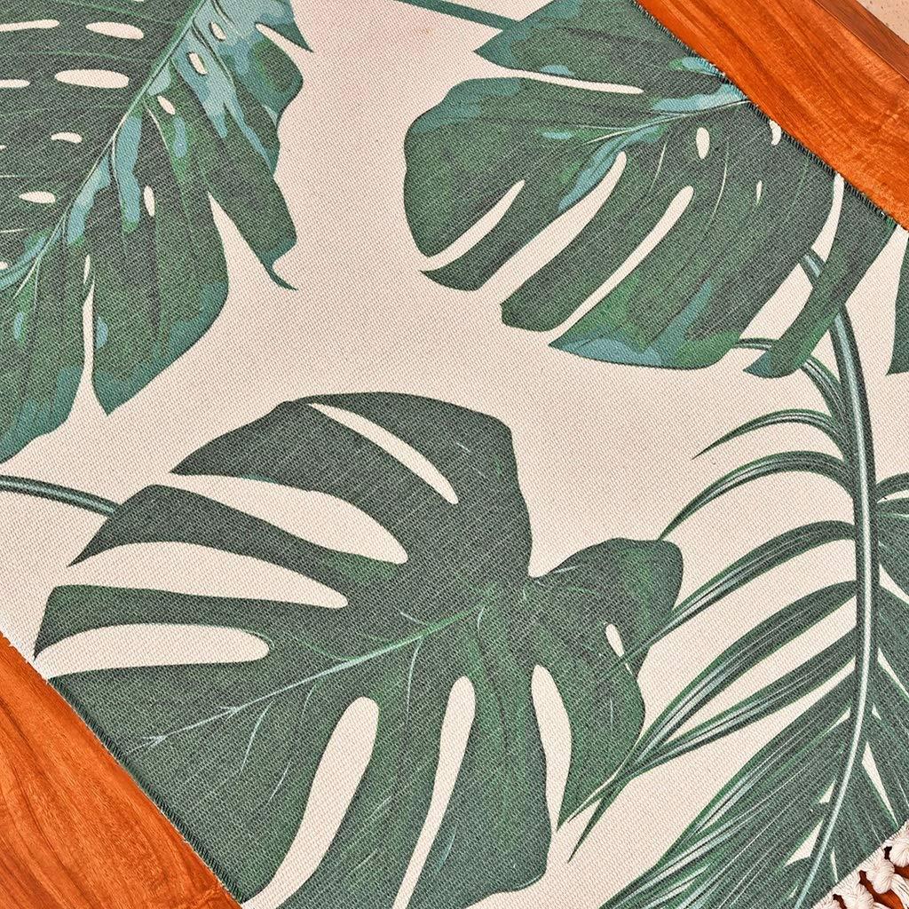 Adecuada para Sala de Estar Mesa de Centro de Estudio Dormitorio Familiar Mesita de Noche Lavable Color: Verde Tama/ño: 60 /× 90 cm Alfombra de Estilo Tropical para Sala de Estar