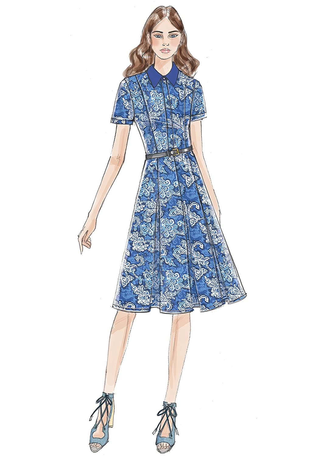 / 14 Vogue Patterns 9201/ A5/ Misses//Petite Dress Taglie 6/  Tessuto Multicolore