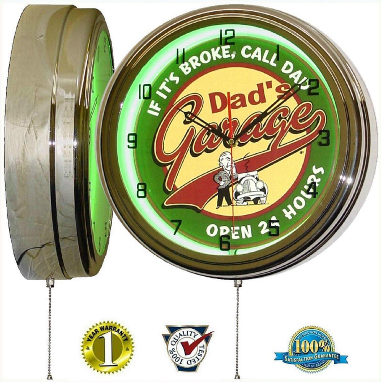 DADS GARAGE 15'' NEON LIGHT WALL CLOCK MAN CAVE WORKSHOP TIN METAL SIGN GREEN