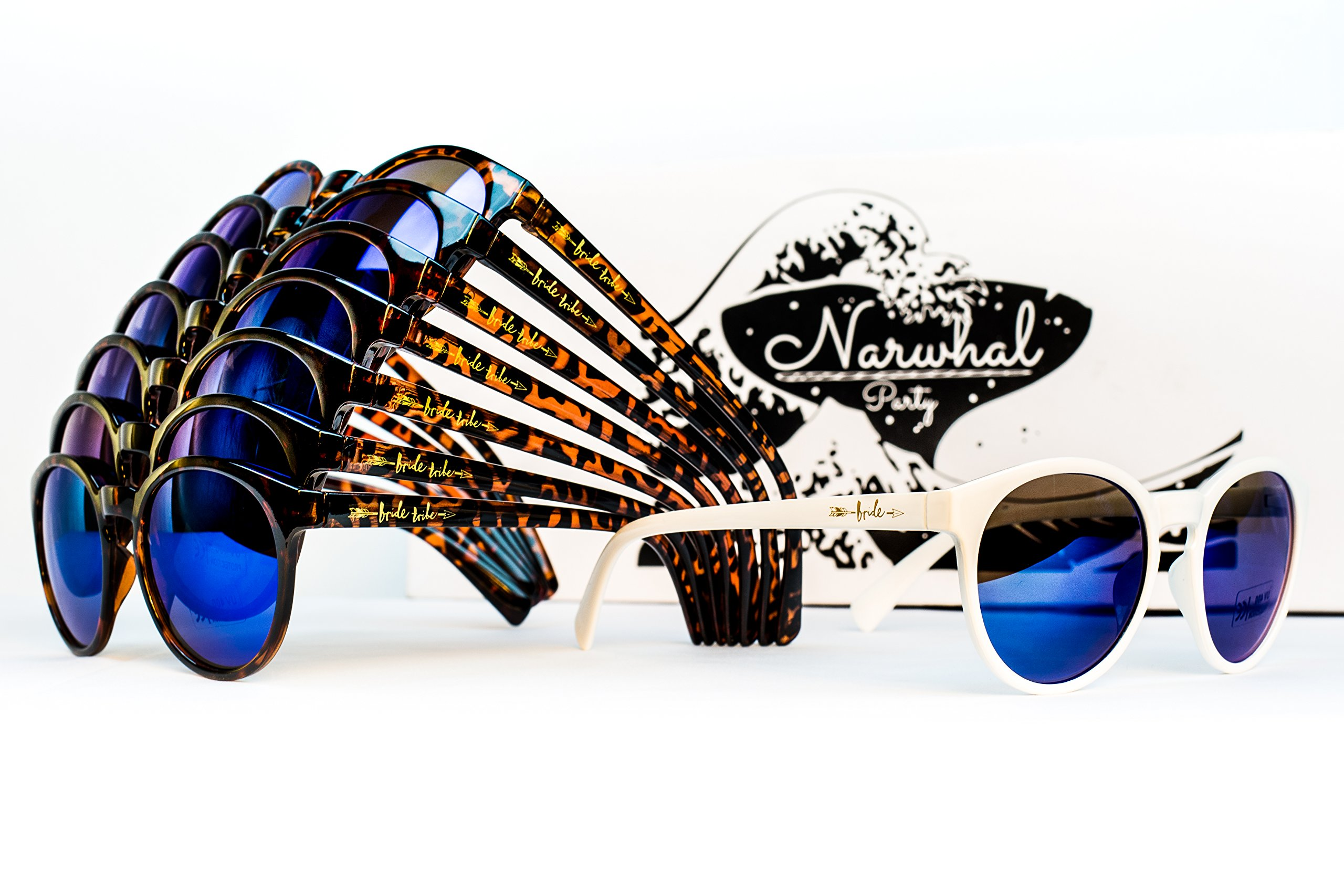 Bride Tribe Sunglasses by Narwhal Party - 1 Pair of White and 7 Pairs of Tortoise Shell Glasses with Blue Mirror Lenses are Perfect for Bridesmaids, Bridal Party Favors, and Bachelorette Parties