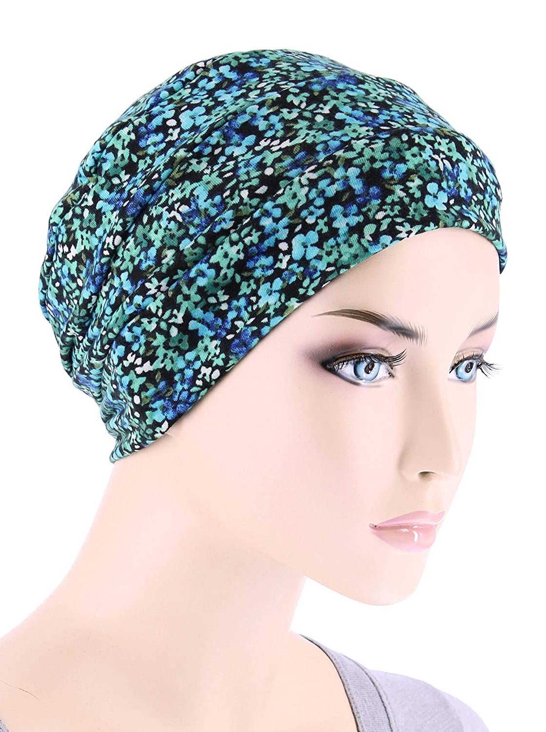 a9a25a4aa24 Chemo Cap Womens Beanie Sleep Turban Hat Headwear for Cancer in Green  Petite Floral at Amazon Women s Clothing store