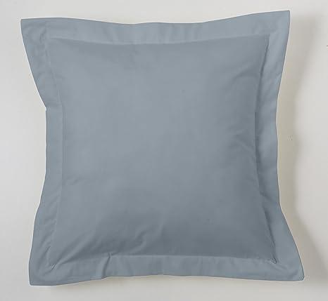 ESTELA - Funda de cojín Combi Liso Cala Color Acero - Medidas 55x55+5 cm. - 100% Algodón - 144 Hilos - Acabado en pestaña