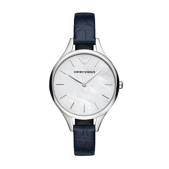 Emporio Armani Reloj Analogico para Mujer de Cuarzo con Correa en Cuero AR11090: Amazon.es: Relojes