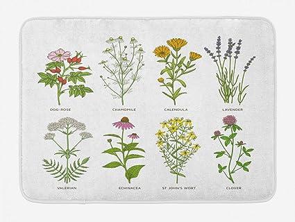 Amazon com : YVSXO Herb Bath Mat, Sweet Natural Cosmetics Flowers