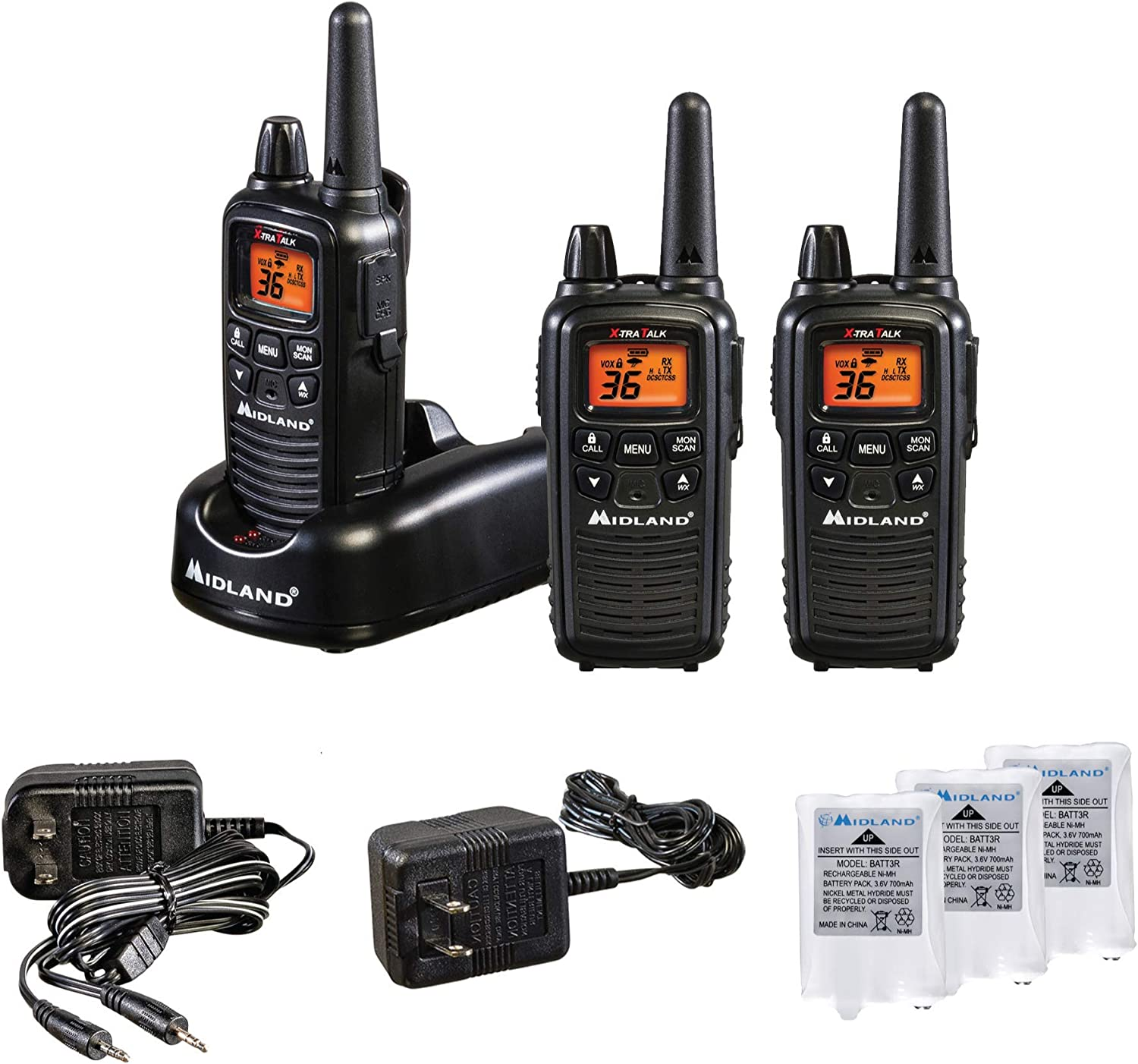 Midland - LXT633VP3, 36 Channel FRS Two-Way Radio - Up to 30 Mile Range Walkie Talkie, 121 Privacy Codes, & NOAA Weather Scan + Alert (3 Pack) (Black)