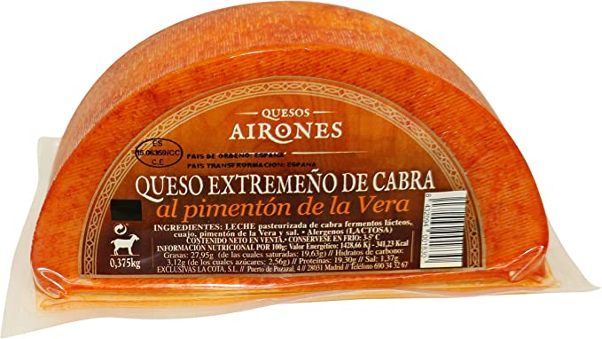 AIRONES queso de cabra con pimentón de la Vera cuña 370 gr ...
