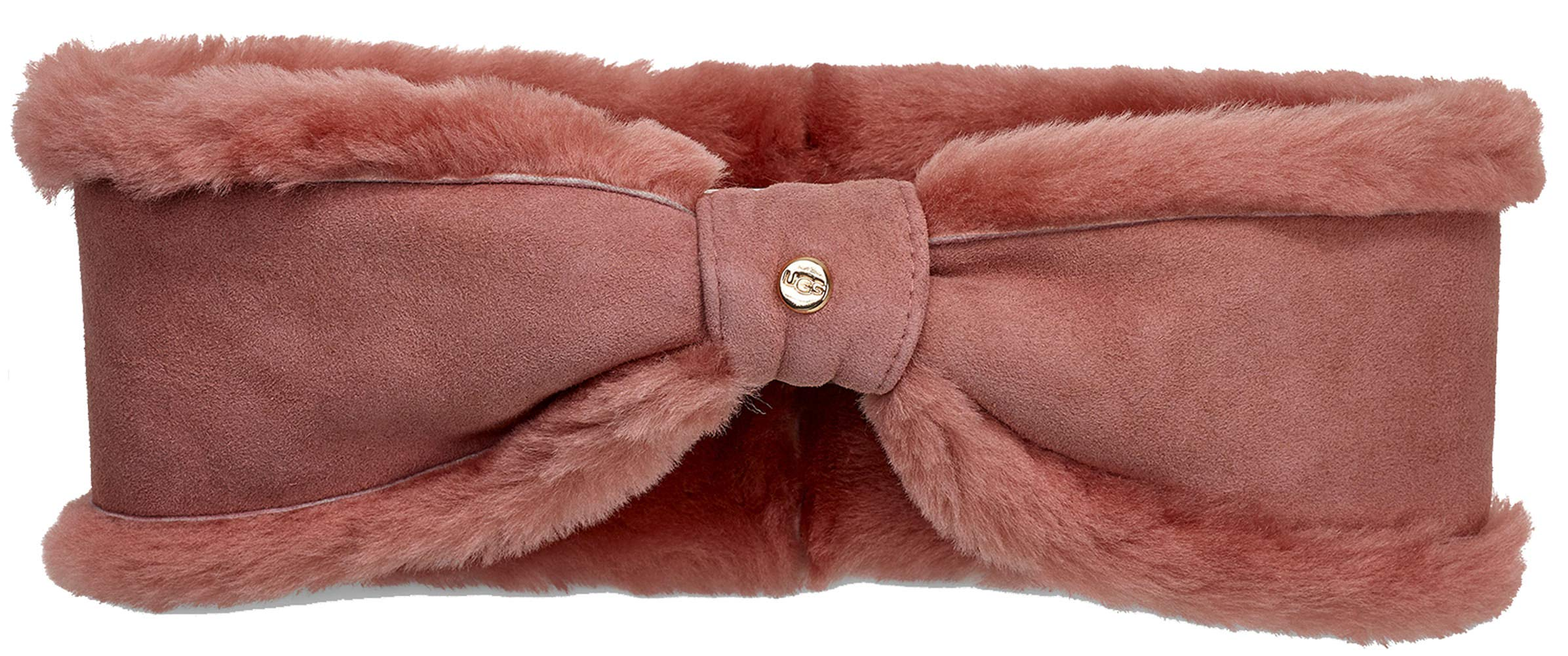 UGG Women's Bow Water Resistant Sheepskin Headband Lantana Pink One Size
