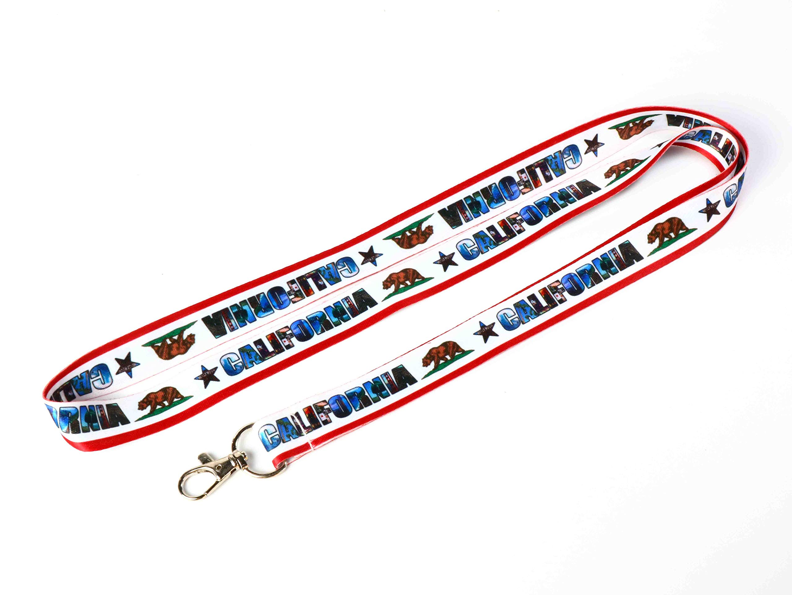 RockNerdy - California Lanyard Keychain with Metal Clasp - ID Lanyard for Keys Badges USB Whistle Passport Nametag - ID Holder Keychain for Women Men Kids (White, 50 Lanyards) by Lanyards and More