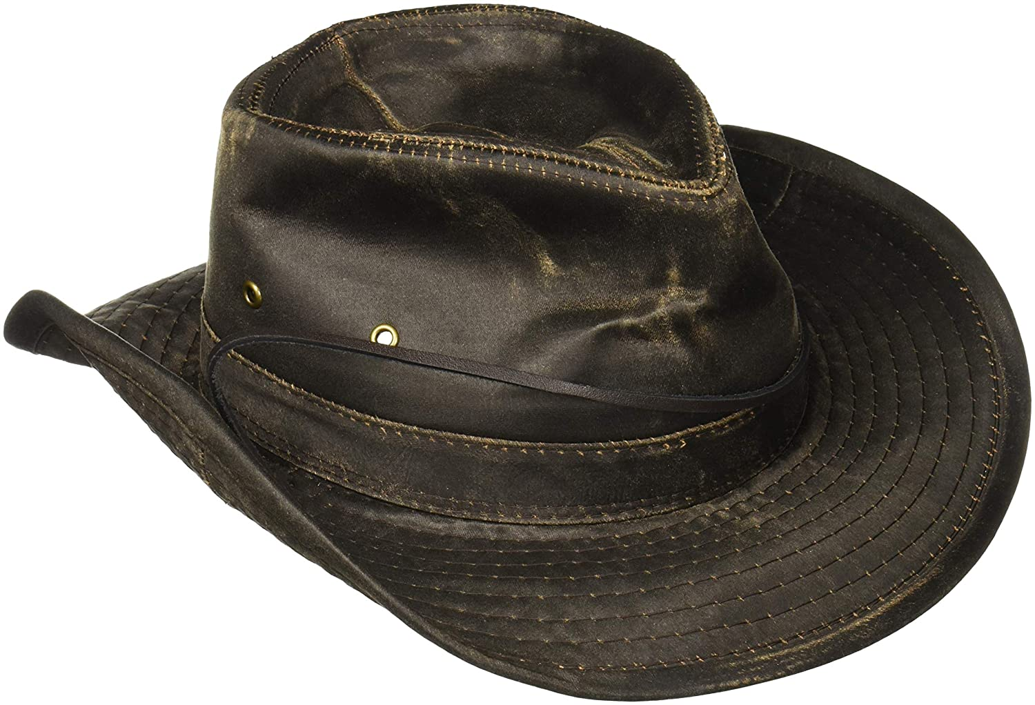 Dorfman-Pacific Weathered Cotton Outback Hat With Chin Cord MC127