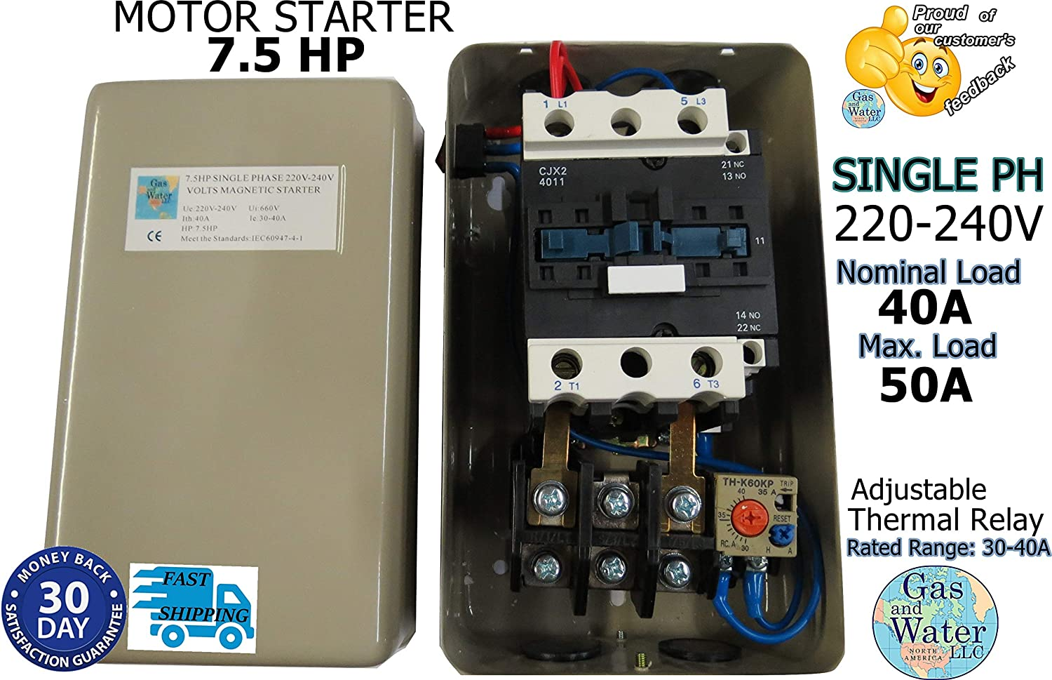 [QMVU_8575]  Magnetic Electric Motor Starter 7.5 HP Single Phase Control 220/240V 30-40A  - Electrical Switches - Amazon.com | 240 Volt Single Phase Compressor Wiring Diagram |  | Amazon.com