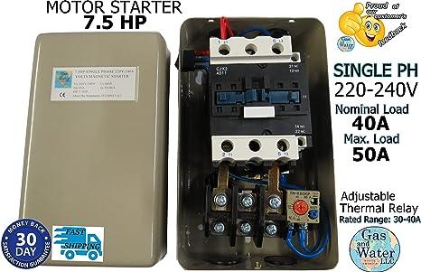 MAGNETIC MOTOR STARTER CONTROL SINGLE PHASE 7.5 HP 220/240V 30-40A on