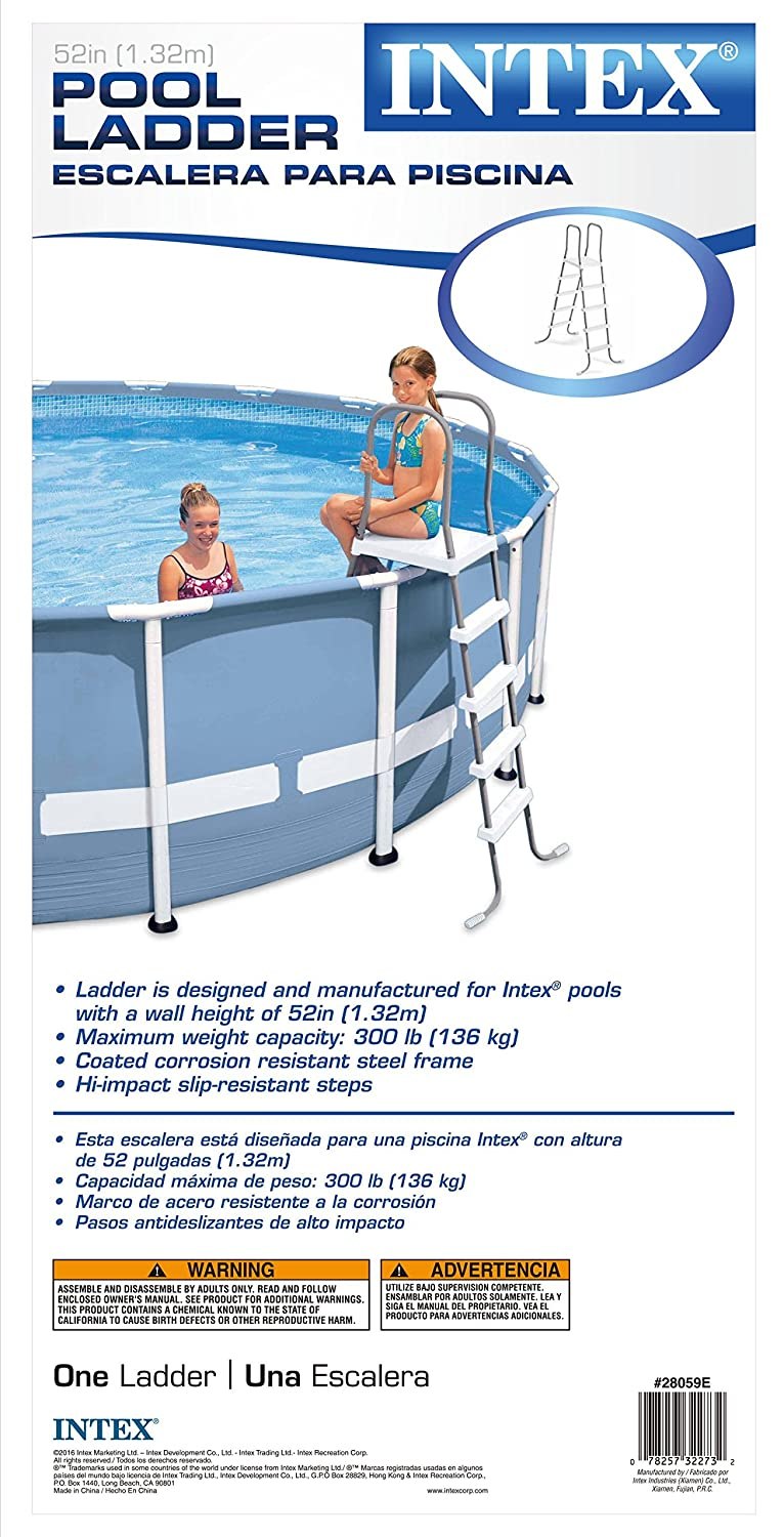 Intex Double-Sided Steel Pool Ladder for 52-Inch Above Ground Pools ...