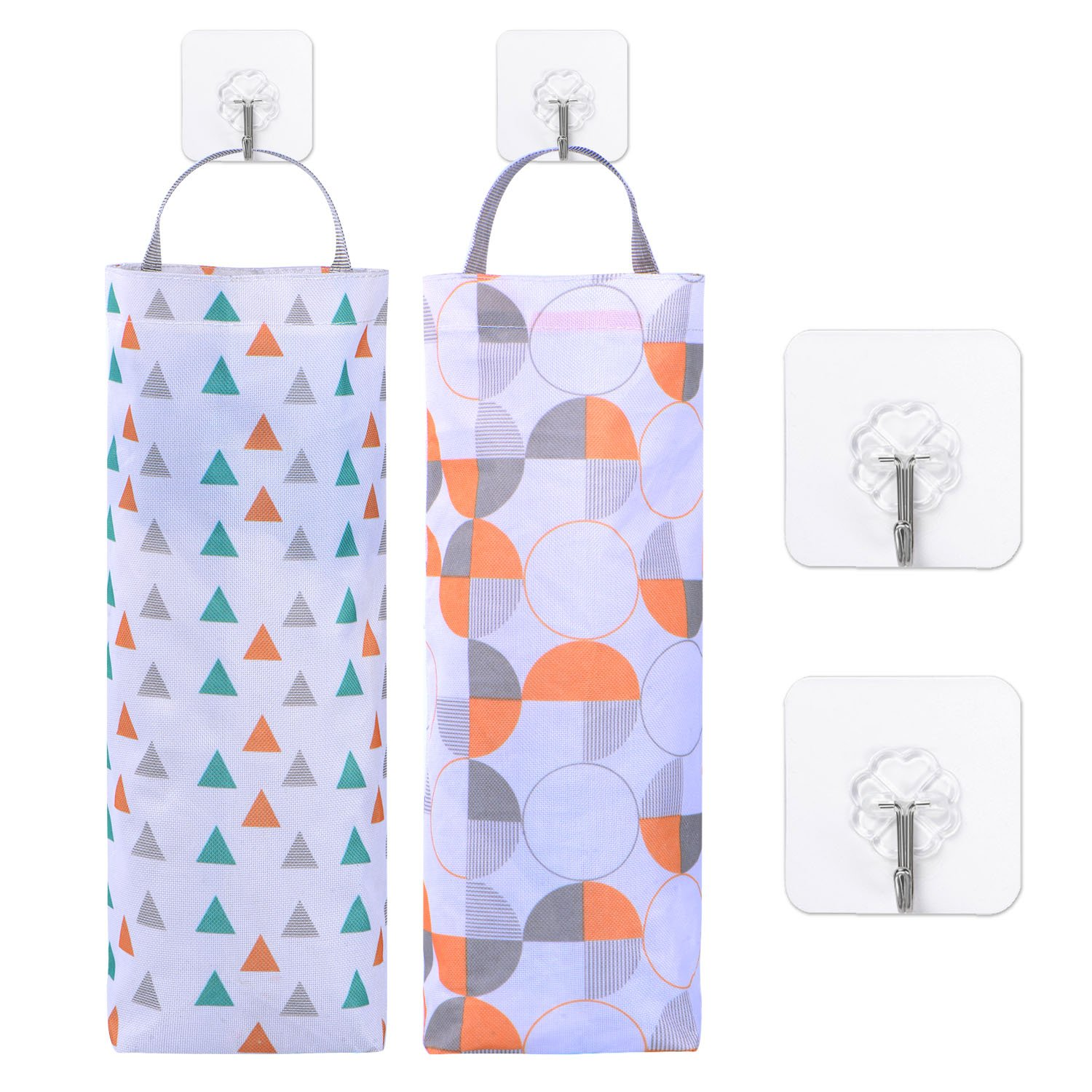 2 Pieces Plastic Bag Holder Hanging Storage Trash Bags Folding Garbage Bag Organizer with 4 Pieces Hooks for Kitchen Office Home BBTO