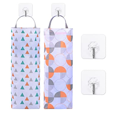 BBTO 2 Pieces Plastic Bag Holder Hanging Storage Trash Bags Folding Garbage Bag Organizer with 4 Pieces Hooks for Kitchen Office Home