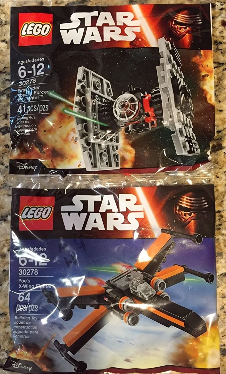 LEGO New Star Wars The Force Awakens 30278 Poe's X-Wing + 30276 TIE Fighter