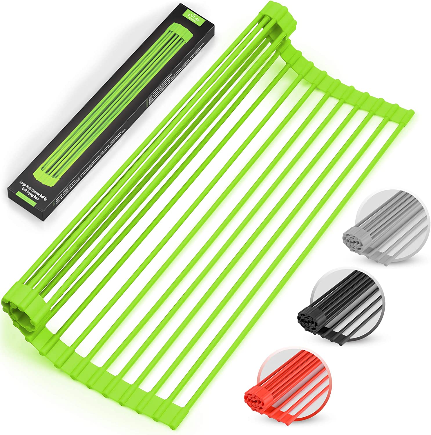 """Large 20.5"""" Multipurpose Roll Up Dish Drying Rack & Trivet - Heavy Duty, Silicone-Coated Stainless Steel Roll Up Rack, Rolls Out Over any Sink - Versatile Roll Up Sink Drying Rack by Zulay (Green)"""