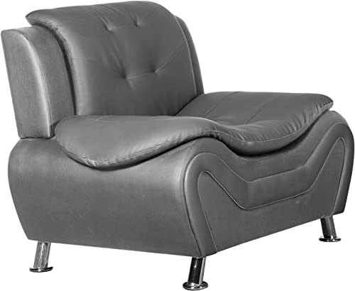 Container Furniture Direct Arul Leather Air Upholstered Mid Century Modern Sofa Chair
