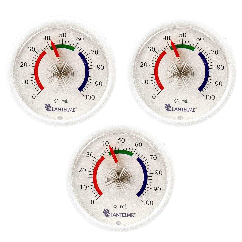 Lantelme 6307 Mini Hygrometer, 3 pieces Set with analog humidity indicator over bimetal spring element
