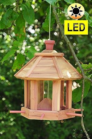 Pajarera Comedero, Pajarera Comedero, con iluminación de jardín, con 6 x Forro Dosificador y Silo Nido,,